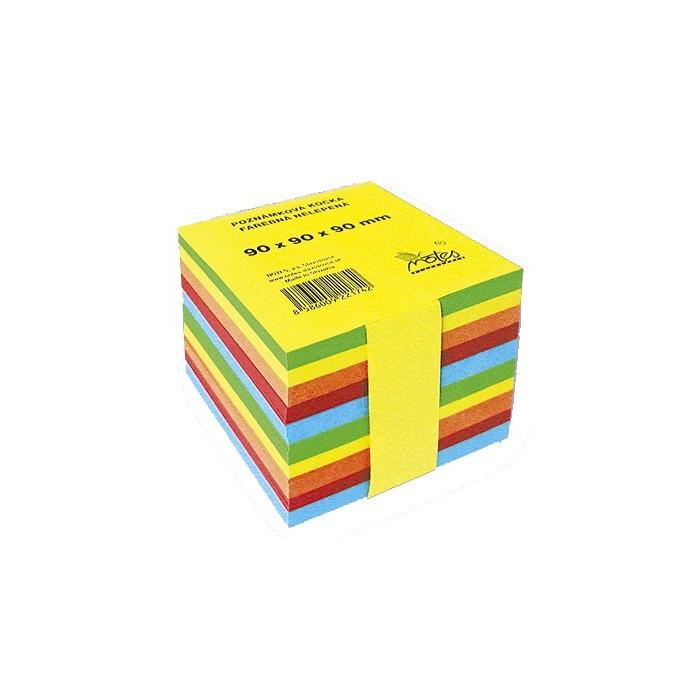 Blok poznámkový špalík lepený 9x9x9cm 5 farebný