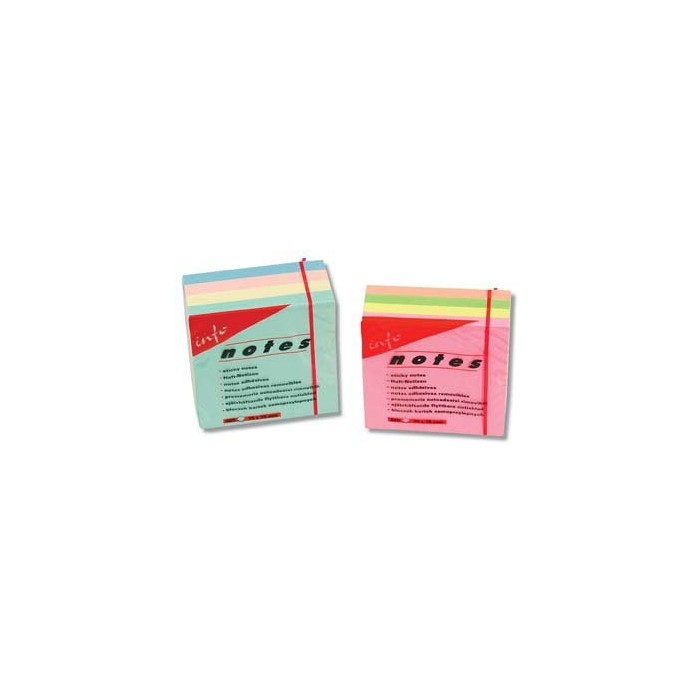 Blok samolepiaci 75x75/4x100ls. pastelový lepený 3820-98