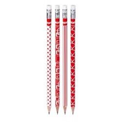 Ceruzka KORES HB s gumou trojuholníkový tvar, červeno-biela