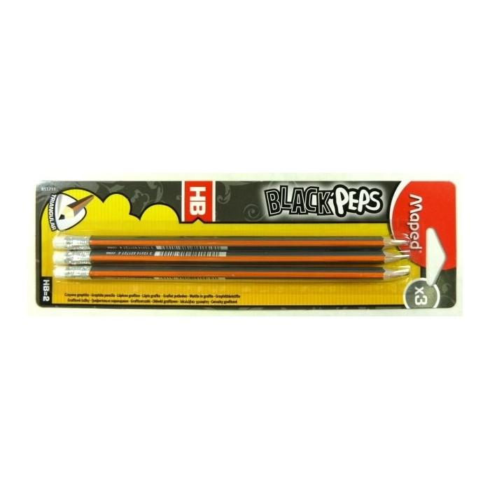 Ceruzka MAPED Black Peps HB s gumou/3ks