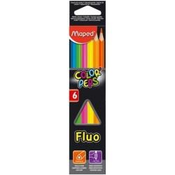 Ceruzky MAPED/ 6 3HR farebná súprava FLUO