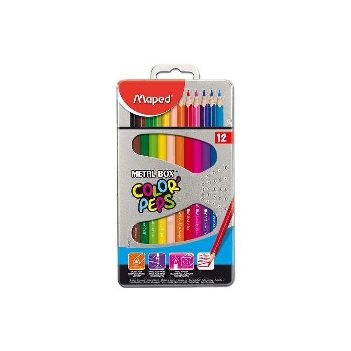 Ceruzky MAPED/12 3HR farebná súprava v kovovovej škatuľke