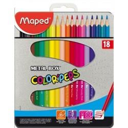 Ceruzky MAPED/18 3HR farebná súprava kovov.škatuľka