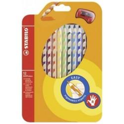 Ceruzky STABILO EASYcolors/12 3HR pravák fareb. súpr.+ strúhadlo
