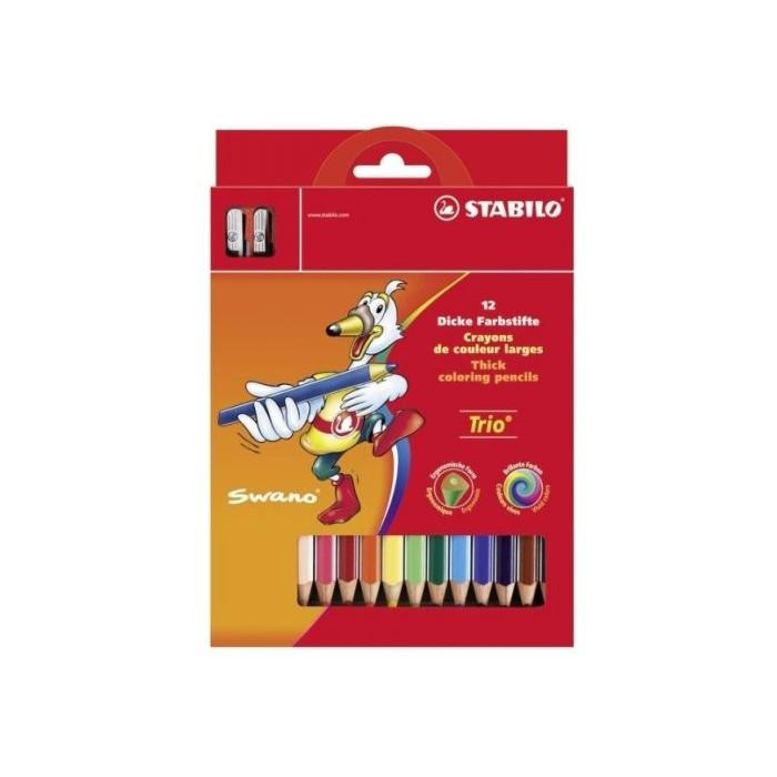 Ceruzky STABILO TRIO/12 3HR farebná súprava so strúhadlom