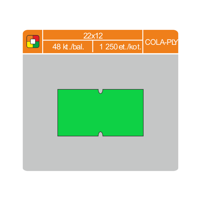 Etikety cenové 22x12 COLA-PLY zelené
