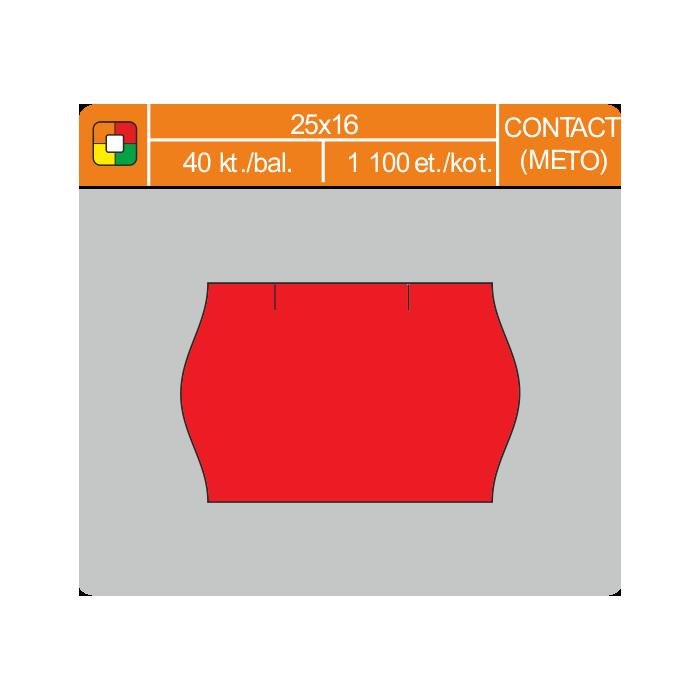 Etikety cenové 25x16 CONTACT červené