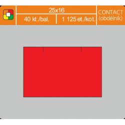 Etikety cenové 25x16 CONTACT obdĺžnik červené
