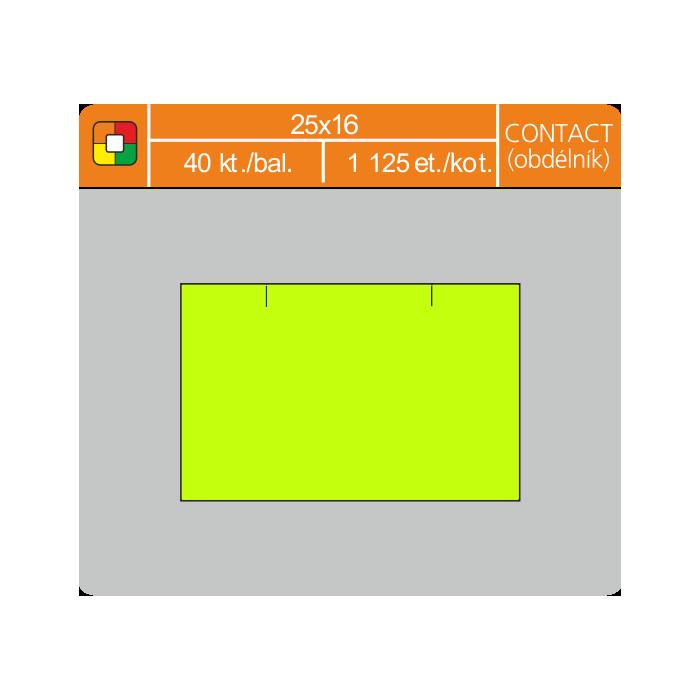 Etikety cenové 25x16 CONTACT obdĺžnik žlté