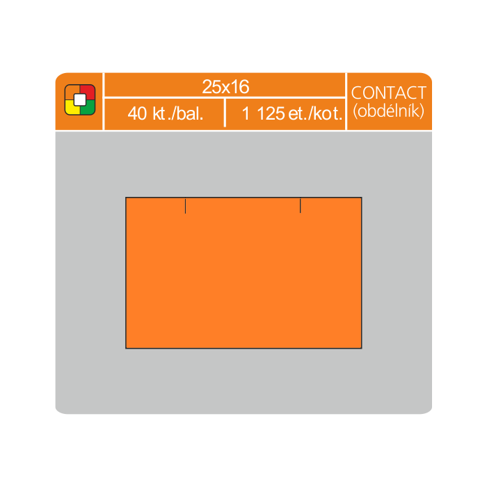 Etikety cenové 25x16 CONTACT obdĺžnik oranžové