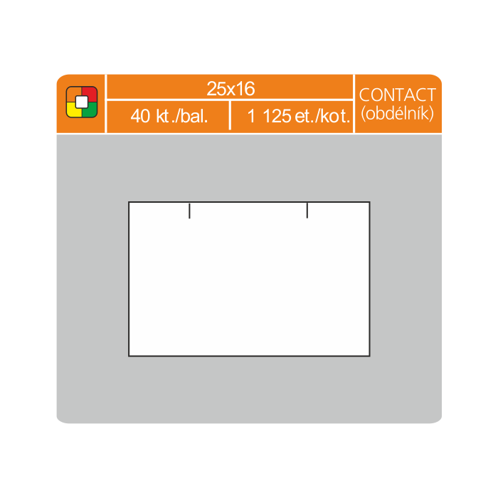 Etikety cenové 25x16 CONTACT obdĺžnik biele