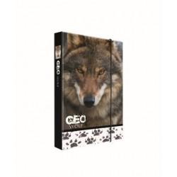 Dosky A4 školské + BOX KARTON Jumbo GEO WILD vlk