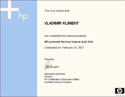 certifikát HP